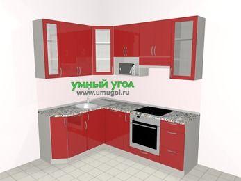 Угловая кухня МДФ глянец 5,5 м², 1600 на 2200 мм (зеркальный проект), Красный, верхние модули 920 мм, посудомоечная машина, модуль под свч, встроенный духовой шкаф