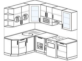 Угловая кухня 5,5 м² (1,6✕2,2 м), верхние модули 920 мм, посудомоечная машина, модуль под свч, отдельно стоящая плита