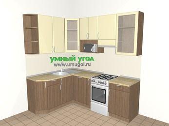 Угловая кухня МДФ матовый 5,5 м², 1600 на 2200 мм (зеркальный проект), Ваниль / Лиственница бронзовая, верхние модули 920 мм, посудомоечная машина, модуль под свч, отдельно стоящая плита