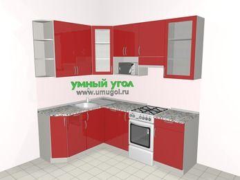 Угловая кухня МДФ глянец 5,5 м², 1600 на 2200 мм (зеркальный проект), Красный, верхние модули 920 мм, посудомоечная машина, модуль под свч, отдельно стоящая плита