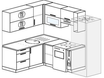 Планировка угловой кухни 5,5 м², 1600 на 2200 мм (зеркальный проект): верхние модули 720 мм, отдельно стоящая плита, корзина-бутылочница, холодильник