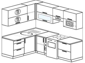 Планировка угловой кухни 5,5 м², 1600 на 2200 мм (зеркальный проект): верхние модули 720 мм, корзина-бутылочница, отдельно стоящая плита, верхний модуль под свч