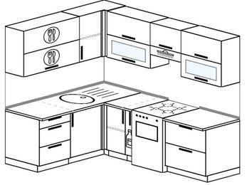 Угловая кухня 5,5 м² (1,6✕2,2 м), верхние модули 720 мм, отдельно стоящая плита