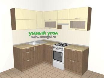 Угловая кухня МДФ матовый 5,5 м², 1600 на 2200 мм (зеркальный проект), Ваниль / Лиственница бронзовая, верхние модули 720 мм, отдельно стоящая плита