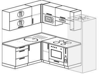 Угловая кухня 5,5 м² (1,6✕2,2 м), верхние модули 72 см, верхний модуль под свч, встроенный духовой шкаф, холодильник