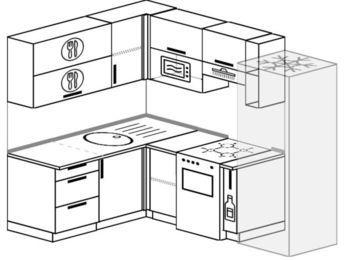 Угловая кухня 5,5 м² (1,6✕2,2 м), верхние модули 72 см, верхний модуль под свч, холодильник, отдельно стоящая плита