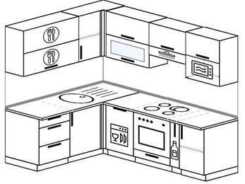 Угловая кухня 5,5 м² (1,6✕2,2 м), верхние модули 720 мм, посудомоечная машина, верхний модуль под свч, встроенный духовой шкаф
