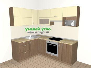 Угловая кухня МДФ матовый 5,5 м², 1600 на 2200 мм (зеркальный проект), Ваниль / Лиственница бронзовая, верхние модули 720 мм, посудомоечная машина, верхний модуль под свч, встроенный духовой шкаф