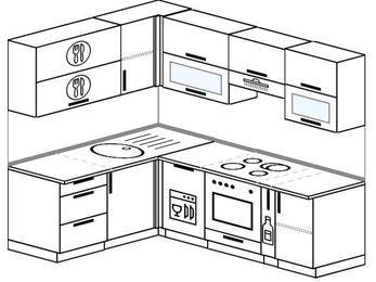 Планировка угловой кухни 5,5 м², 1600 на 2200 мм (зеркальный проект): верхние модули 720 мм, посудомоечная машина, встроенный духовой шкаф, корзина-бутылочница