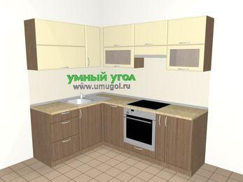 Угловая кухня МДФ матовый 5,5 м², 1600 на 2200 мм (зеркальный проект), Ваниль / Лиственница бронзовая, верхние модули 720 мм, посудомоечная машина, встроенный духовой шкаф