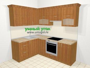 Угловая кухня МДФ матовый в классическом стиле 5,5 м², 160 на 220 см (зеркальный проект), Вишня, верхние модули 72 см, посудомоечная машина, встроенный духовой шкаф