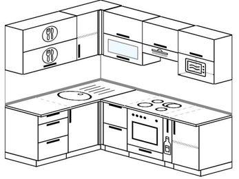 Планировка угловой кухни 5,5 м², 1600 на 2200 мм (зеркальный проект): верхние модули 720 мм, встроенный духовой шкаф, корзина-бутылочница, верхний модуль под свч