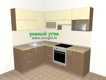 Угловая кухня МДФ матовый 5,5 м², 1600 на 2200 мм (зеркальный проект), Ваниль / Лиственница бронзовая, верхние модули 720 мм, верхний модуль под свч, встроенный духовой шкаф
