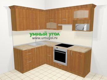 Угловая кухня МДФ матовый в классическом стиле 5,5 м², 160 на 220 см (зеркальный проект), Вишня, верхние модули 72 см, верхний модуль под свч, встроенный духовой шкаф