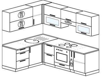 Угловая кухня 5,5 м² (1,6✕2,2 м), верхние модули 720 мм, встроенный духовой шкаф