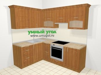 Угловая кухня МДФ матовый в классическом стиле 5,5 м², 160 на 220 см (зеркальный проект), Вишня, верхние модули 72 см, встроенный духовой шкаф