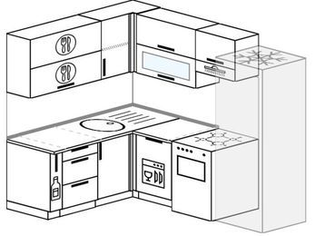 Угловая кухня 5,5 м² (1,6✕2,2 м), верхние модули 72 см, посудомоечная машина, холодильник, отдельно стоящая плита