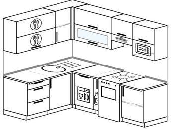 Угловая кухня 5,5 м² (1,6✕2,2 м), верхние модули 720 мм, посудомоечная машина, верхний модуль под свч, отдельно стоящая плита