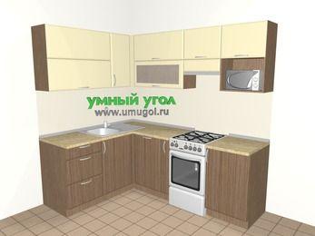 Угловая кухня МДФ матовый 5,5 м², 1600 на 2200 мм (зеркальный проект), Ваниль / Лиственница бронзовая, верхние модули 720 мм, посудомоечная машина, верхний модуль под свч, отдельно стоящая плита