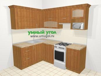 Угловая кухня МДФ матовый в классическом стиле 5,5 м², 160 на 220 см (зеркальный проект), Вишня, верхние модули 72 см, посудомоечная машина, верхний модуль под свч, отдельно стоящая плита