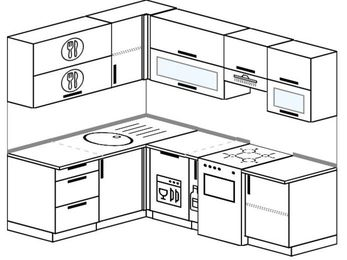 Планировка угловой кухни 5,5 м², 1600 на 2200 мм (зеркальный проект): верхние модули 720 мм, посудомоечная машина, корзина-бутылочница, отдельно стоящая плита