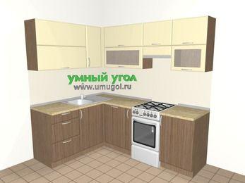 Угловая кухня МДФ матовый 5,5 м², 1600 на 2200 мм (зеркальный проект), Ваниль / Лиственница бронзовая, верхние модули 720 мм, посудомоечная машина, отдельно стоящая плита