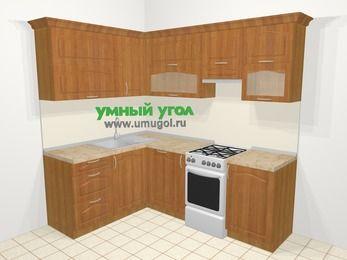 Угловая кухня МДФ матовый в классическом стиле 5,5 м², 160 на 220 см (зеркальный проект), Вишня, верхние модули 72 см, посудомоечная машина, отдельно стоящая плита