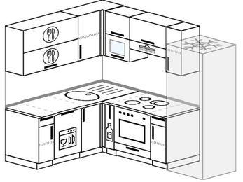 Планировка угловой кухни 5,5 м², 160 на 220 см (зеркальный проект): верхние модули 72 см, посудомоечная машина, корзина-бутылочница, встроенный духовой шкаф, холодильник