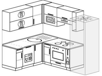 Угловая кухня 5,5 м² (1,6✕2,2 м), верхние модули 72 см, посудомоечная машина, верхний модуль под свч, встроенный духовой шкаф, холодильник