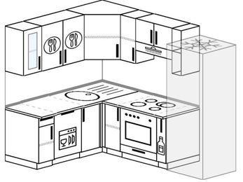 Планировка угловой кухни 5,5 м², 160 на 220 см (зеркальный проект): верхние модули 72 см, посудомоечная машина, встроенный духовой шкаф, корзина-бутылочница, холодильник