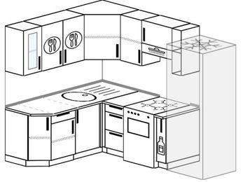 Угловая кухня 5,5 м² (1,6✕2,2 м), верхние модули 72 см, холодильник, отдельно стоящая плита