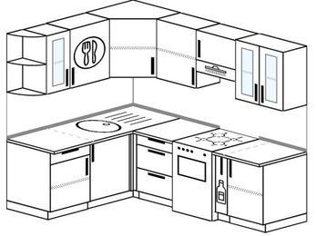 Угловая кухня 5,5 м² (1,6✕2,2 м), верхние модули 72 см, отдельно стоящая плита