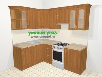 Угловая кухня МДФ матовый в классическом стиле 5,5 м², 160 на 220 см (зеркальный проект), Вишня, верхние модули 72 см, отдельно стоящая плита