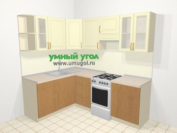 Угловая кухня из МДФ + ЛДСП 5,5 м², 1600 на 2200 мм (зеркальный проект), Ваниль / Ольха, верхние модули 720 мм, отдельно стоящая плита