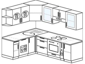 Угловая кухня 5,5 м² (1,6✕2,2 м), верхние модули 72 см, посудомоечная машина, встроенный духовой шкаф