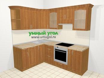 Угловая кухня МДФ матовый в классическом стиле 5,5 м², 1600 на 2200 мм (зеркальный проект), Вишня, верхние модули 720 мм, посудомоечная машина, встроенный духовой шкаф