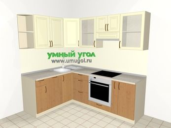 Угловая кухня из МДФ + ЛДСП 5,5 м², 1600 на 2200 мм (зеркальный проект), Ваниль / Ольха, верхние модули 720 мм, посудомоечная машина, встроенный духовой шкаф
