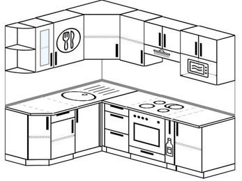 Планировка угловой кухни 5,5 м², 160 на 220 см (зеркальный проект): верхние модули 72 см, встроенный духовой шкаф, корзина-бутылочница, модуль под свч