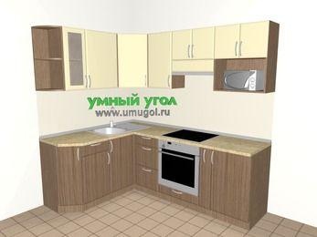 Угловая кухня МДФ матовый 5,5 м², 1600 на 2200 мм (зеркальный проект), Ваниль / Лиственница бронзовая, верхние модули 720 мм, модуль под свч, встроенный духовой шкаф