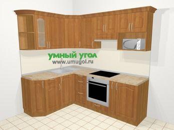 Угловая кухня МДФ матовый в классическом стиле 5,5 м², 1600 на 2200 мм (зеркальный проект), Вишня, верхние модули 720 мм, модуль под свч, встроенный духовой шкаф