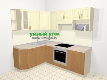 Угловая кухня из МДФ + ЛДСП 5,5 м², 1600 на 2200 мм (зеркальный проект), Ваниль / Ольха, верхние модули 720 мм, модуль под свч, встроенный духовой шкаф