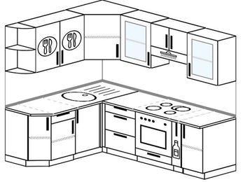 Угловая кухня 5,5 м² (1,6✕2,2 м), верхние модули 72 см, встроенный духовой шкаф