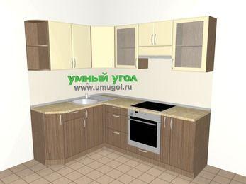 Угловая кухня МДФ матовый 5,5 м², 1600 на 2200 мм (зеркальный проект), Ваниль / Лиственница бронзовая, верхние модули 720 мм, встроенный духовой шкаф
