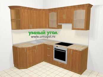 Угловая кухня МДФ матовый в классическом стиле 5,5 м², 1600 на 2200 мм (зеркальный проект), Вишня, верхние модули 720 мм, встроенный духовой шкаф