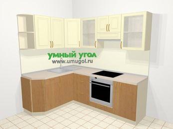 Угловая кухня из ЛДСП EGGER 5,5 м², 160 на 220 см (зеркальный проект), верхние модули 72 см, встроенный духовой шкаф