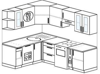 Угловая кухня 5,5 м² (1,6✕2,2 м), верхние модули 72 см, посудомоечная машина, отдельно стоящая плита