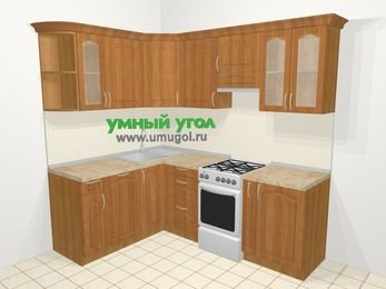 Угловая кухня МДФ матовый в классическом стиле 5,5 м², 1600 на 2200 мм (зеркальный проект), Вишня, верхние модули 720 мм, посудомоечная машина, отдельно стоящая плита