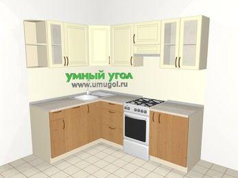 Угловая кухня из МДФ + ЛДСП 5,5 м², 1600 на 2200 мм (зеркальный проект), Ваниль / Ольха, верхние модули 720 мм, посудомоечная машина, отдельно стоящая плита