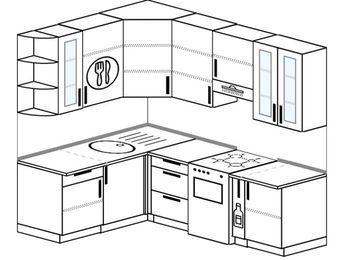 Угловая кухня 5,5 м² (1,6✕2,2 м), верхние модули 920 мм, отдельно стоящая плита