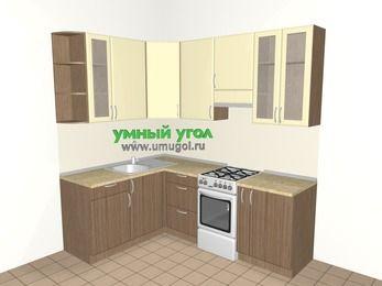 Угловая кухня МДФ матовый 5,5 м², 1600 на 2200 мм (зеркальный проект), Ваниль / Лиственница бронзовая, верхние модули 920 мм, отдельно стоящая плита